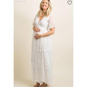 PinkBlush | white lace mesh overlay maxi maternity